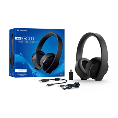 New Sony PS4 Gold headset i farven sort / black